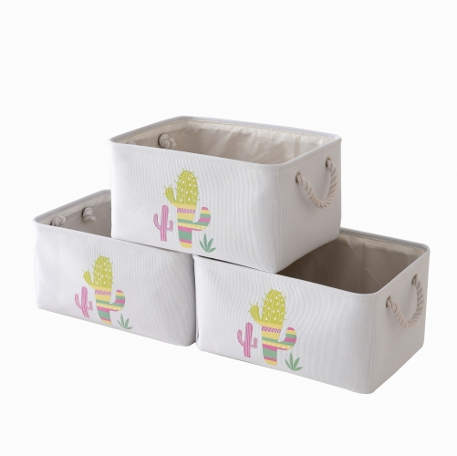 "Cactus - Canvas Storage Bins with Cotton Rope Handles, 15.3""(L)*11.5""(W)*8""(H), 3-Pack, Collapsible, Decorative Basket"