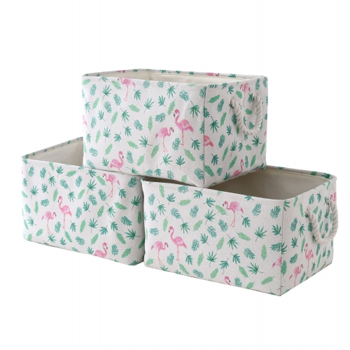 "Flamingo - Canvas Storage Bins with Cotton Rope Handles, 15.4""(L)*12""(W)*8""(H), 3-Pack, Collapsible, Decorative Basket"