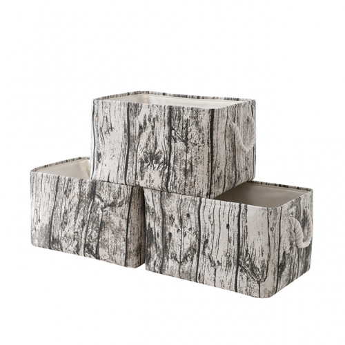 "Tree Stump - Canvas Storage Bins with Cotton Rope Handles, 15""(L)*11""(W)*9.5""(H), 3-Pack, Collapsible, Decorative Basket"