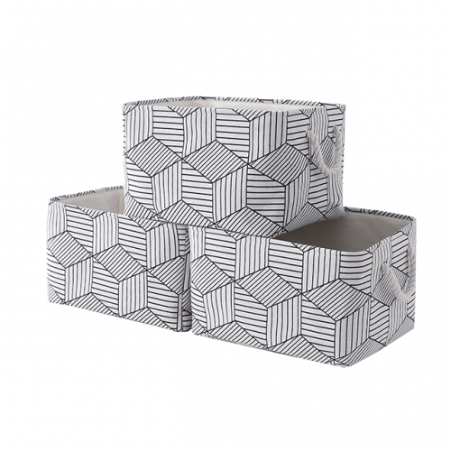 "White Cube - Canvas Storage Bins with Cotton Rope Handles, 15.4""(L)*12""(W)*8""(H), 3-Pack, Collapsible, Decorative Basket"