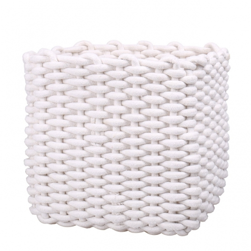 "White Cotton Rope Basket for Towels, Diapers, Toys Storage, Baby Storage Basket for Nursery Kid's Room, Decorative Gift Woven Basket for Laundry, 11""("