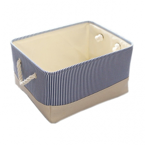 Blue Strip - Linen Storage Bins with Cotton Rope Handles, Three Different Sizes, Collapsible, Decorative Basket