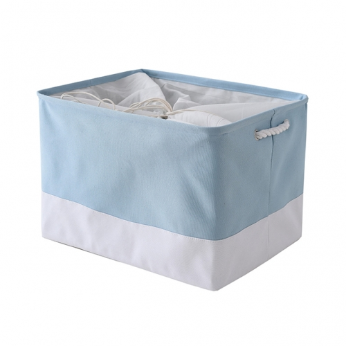 "Blue and White - Linen Storage Bins with Cotton Rope Handles, 20.5""(L)*15.7""(W)*13.8""(H), Collapsible, Decorative Basket"