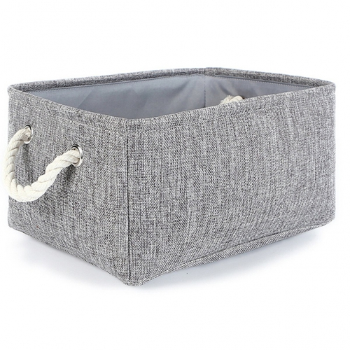 Gray - Linen Storage Bins with Cotton Rope Handles, Six Differents Sizes, Collapsible, Decorative Basket