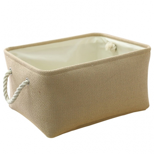 Beige - Linen Storage Bins with Cotton Rope Handles, Three Differents Sizes, Collapsible, Decorative Basket